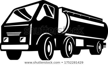 Tank teherautó üzemanyag alulról fotózva retro feketefehér Stock fotó © patrimonio