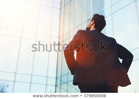 portré · építész · mobil · közelkép · visel · munkavédelmi · sisak - stock fotó © photography33