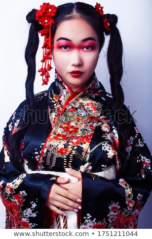 Stock fotó: Gésa · nő · rózsaszín · kimonó · izolált · fehér