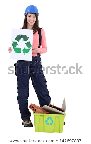young bricklayer holding recycling logo Stock photo © photography33