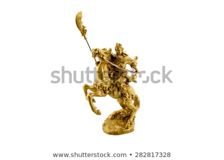 Ancient sculpture of Guangong on the horseback Stock photo © bbbar