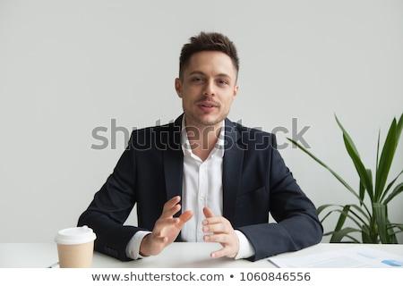 男 話し 髪 肖像 シャツ 笑みを浮かべて ストックフォト © photography33