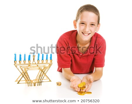Little Boy Holding Hanukkah Gelt Stock photo © lisafx