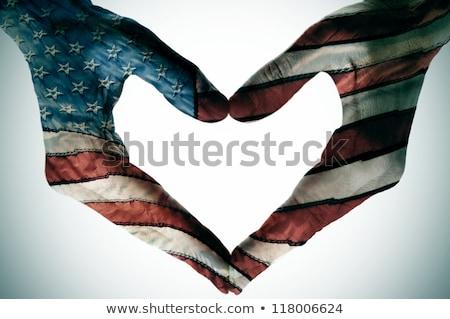 Сток-фото: флаг · Америки · формы · сердца · искусства · цвета · белый