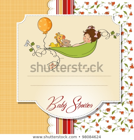 little girl siting in a pea been. baby announcement card Stock photo © balasoiu