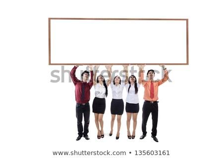üzletasszony magasra tart tábla keret felirat öltöny Stock fotó © photography33
