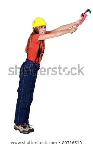 Tradeswoman hanging on for dear life Stock photo © photography33