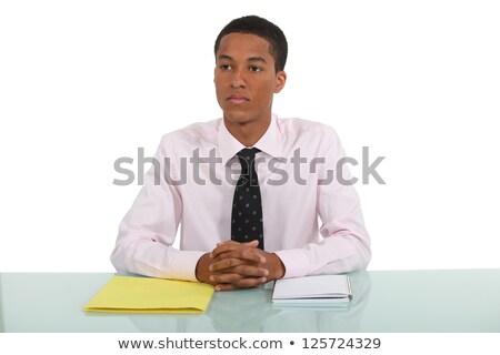 Férfi álmodozás asztal papír könyv asztal Stock fotó © photography33