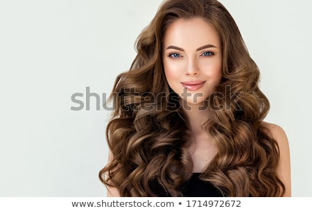 Сток-фото: Brunette Woman With Beauty Long Brown Hair And Red Lips