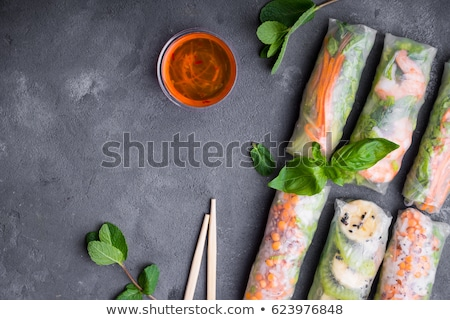 vietnamese spring roll and chopsticks Stock photo © M-studio