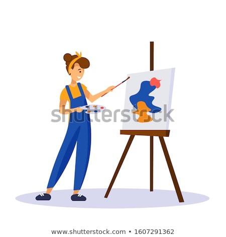 Cartoon ragazza artista lavoro rendering 3d pronto Foto d'archivio © AlienCat