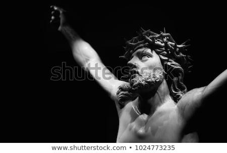 Hristiyan · çapraz · İsa · Mesih · heykel · fırtına - stok fotoğraf © gordo25