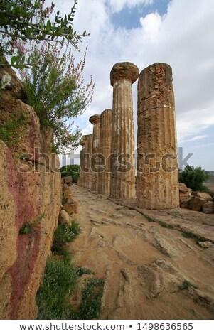 Colunas templo sicília Itália céu azul Foto stock © boggy