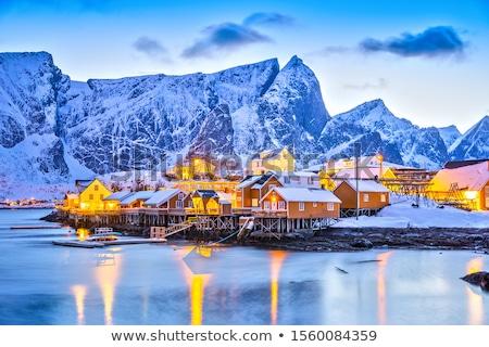 Noors dorp typisch vissen eilanden Noorwegen Stockfoto © Harlekino
