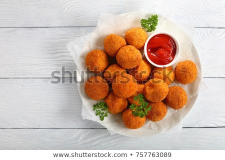 Aardappel bal ketchup voedsel kip kaas Stockfoto © M-studio