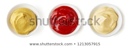 Mustár ketchup üvegek izolált fehér piros Stock fotó © IngaNielsen