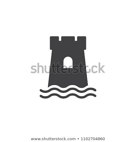 Vektor ikon homokvár tengerpart zászló konténer Stock fotó © zzve