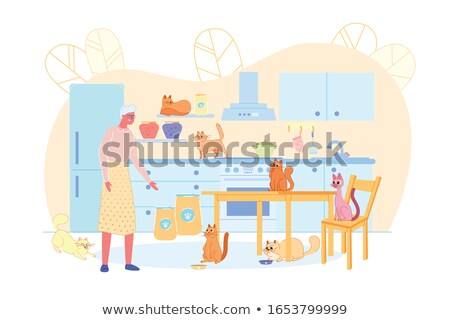 lonely cute woman in old interior stock photo © konradbak
