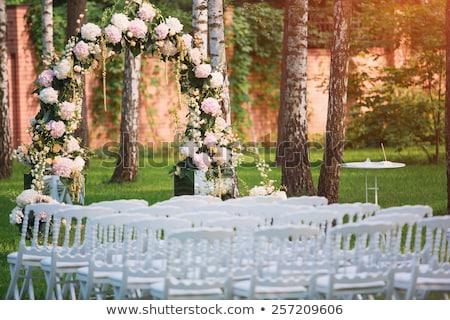 Sandalye düğün töreni kapalı pembe beyaz Stok fotoğraf © KMWPhotography