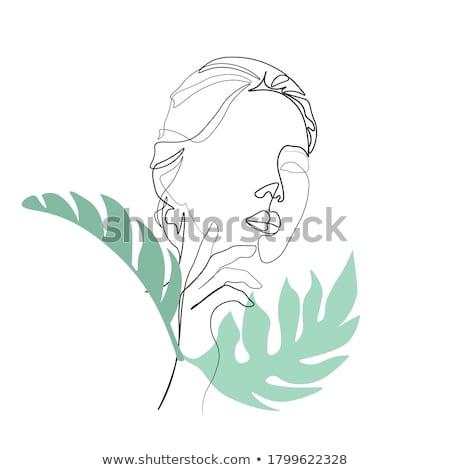 elegáns · divat · lány · kávézó · kézzel · rajzolt · stílus - stock fotó © glyph