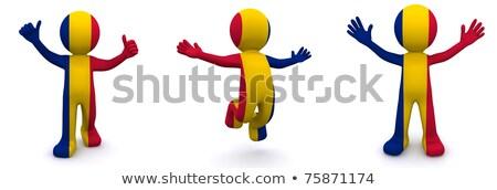 3D karakter bayrak Romanya yalıtılmış Stok fotoğraf © Kirill_M