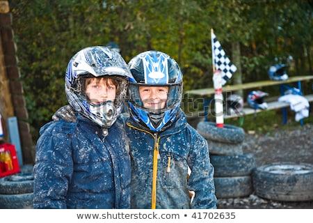 çocuk yarış bisiklet çamurlu izlemek çocuklar Stok fotoğraf © meinzahn