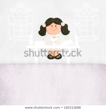 primeira · comunhão · confirmação · criança · leitura · bíblia · oração - foto stock © marimorena
