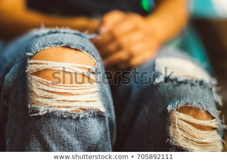 Menina rasgado perneiras branco mulher moda Foto stock © Elnur