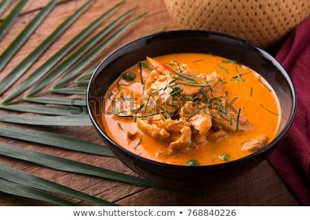 Strigliare carne di maiale riso tavolo in legno cucina ristorante Foto d'archivio © AEyZRiO