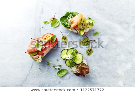 Saudável sanduíche vegetal fumado presunto isolado Foto stock © natika