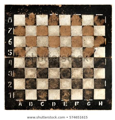 Eski ahşap satranç tahtası yalıtılmış mavi Stok fotoğraf © michaklootwijk