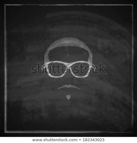 Bağbozumu tebeşir örnek erkek kafa güneş gözlüğü Stok fotoğraf © maximmmmum
