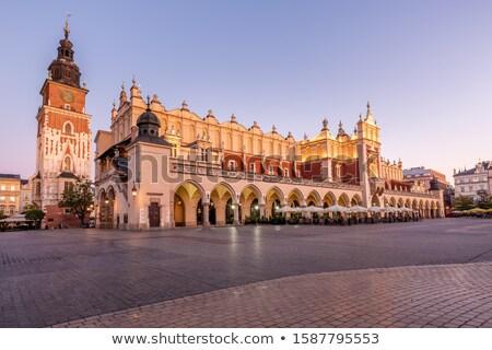 Lengyelország · Krakkó · piac · tér · éjszaka · öreg - stock fotó © joyr
