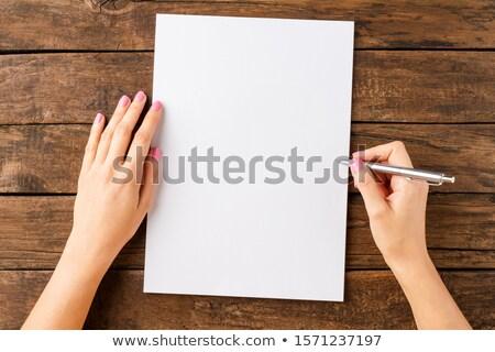 Stock fotó: ír · üres · papír · kéz · toll · üzlet · iroda