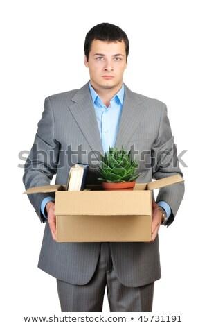 Stock fotó: üzletember · tart · doboz · személyes · izolált · fehér
