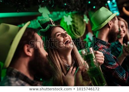 Lány nap vektor zöld kalap arc Stock fotó © Vg