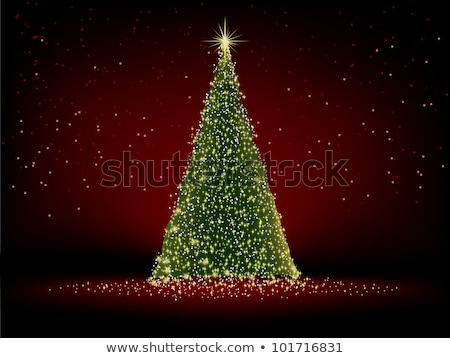 Abstract green christmas tree on red background. EPS 8  Stock photo © beholdereye