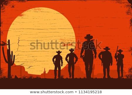 cowboy · cute · człowiek · tle · sylwetka · liny - zdjęcia stock © dashadima