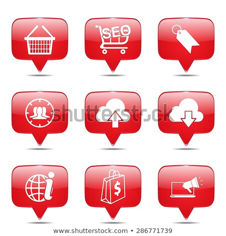 Zdjęcia stock: Seo Internet Sign Square Vector Red Icon Design Set 7