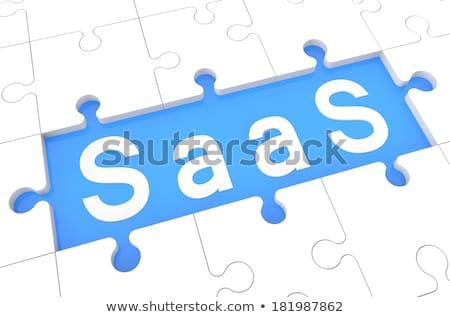puzzle · technologia · informacyjna · napisany · niebieski · puzzle · 3d - zdjęcia stock © tashatuvango