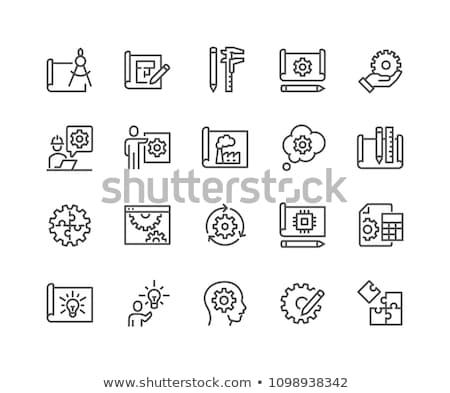 Makinalar mühendislik planı teknik çizim Stok fotoğraf © tashatuvango