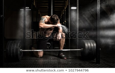 ハンサムな男 トレーニング バーベル 肖像 ジム 少女 ストックフォト © deandrobot