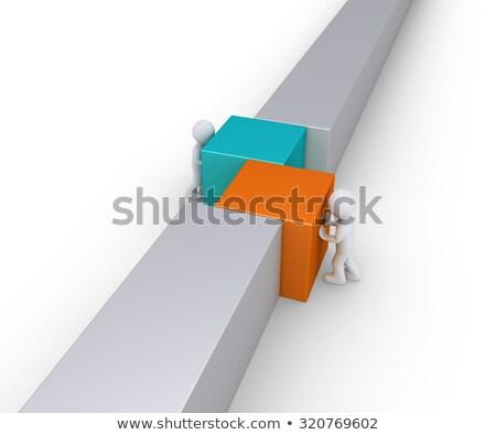 Két személy fal vonal toló különböző tér Stock fotó © 6kor3dos