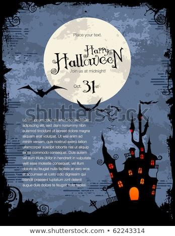 Koszos halloween buli kisértetjárta ház hold Stock fotó © WaD