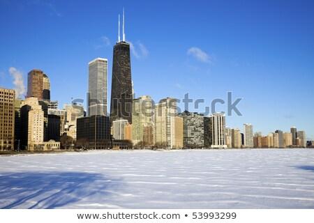 Chicago · sziluett · város · terv · híd · fekete - stock fotó © benkrut