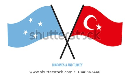 Turquia Micronésia bandeiras quebra-cabeça isolado branco Foto stock © Istanbul2009