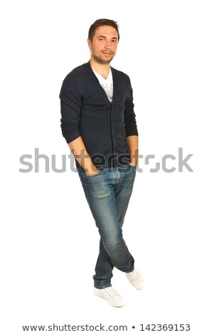 business man posing standing legs crossed with hand in pocket Stock photo © feedough