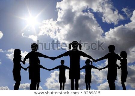 çocuklar · daire · gerçek · güneşli · gökyüzü · aile - stok fotoğraf © Paha_L