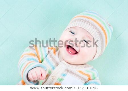 Tricotado verde jaqueta bebê homem moda Foto stock © shutswis