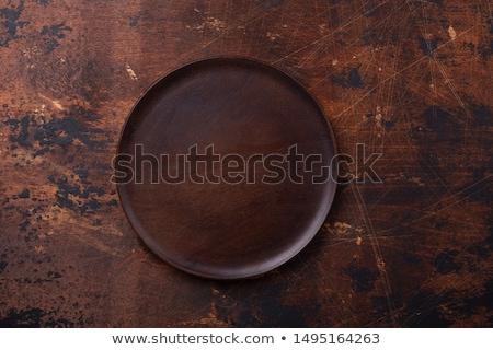 nero · piatto · legno · buio · tavolo · in · legno · design - foto d'archivio © xamtiw